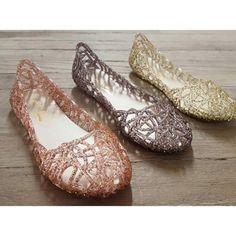 Jelly Flats ✨ Super comfortable and stylish! Now available in 3 colors Rose Gold, Pewter and Clear. Woman sizes 6-10. ❌DO NOT purchase this listing leave comment of size and color and I will post a listing for you ❌ Shoes