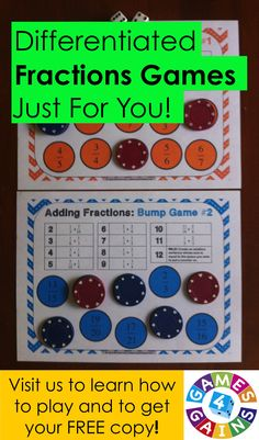 Learn how to play our Adding Fractions Bump Games and get your FREE copy of this set at games4gains.com.  You'll receive 2 different bump games to help students practice adding fractions with like and unlike denominators. Adding And Subtracting Fractions, Math Fractions, Teaching Fractions, Fun Classroom Activities, Math Classroom, Fifth Grade Math, Fourth Grade, Teaching Math, Teaching Ideas