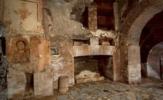 Catacombs of St Callisto, the official cemetery for the Christians of Rome. Sited along the Appian way, these catacombs were built after AD 150, with some private Christian hypogea and a funeral area directly dependent on the Catholic Church.