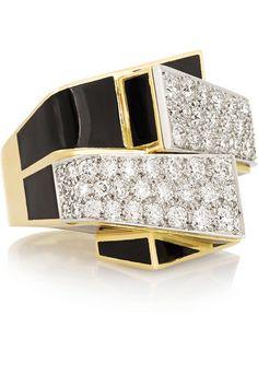 David Webb gold, enamel and diamond #ring
