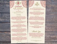 Downloadable Hindu Wedding Program by HeartSeets on Etsy ...