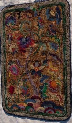 Antique Hand Hooked Rug Bright Floral Hooked Rug Vintage Rug Art Nouveau Rug   eBay