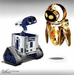 EVE and Wall-E as R2-D2 and C3PO