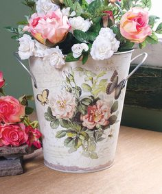 Look at this French Floral Bucket on #zulily today!