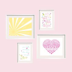 You Are My Sunshine Lahaina Print Set for girl nursery or toddler - Eclectic style UNFRAMED Art - YassisPlace Pin now to view later