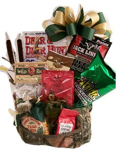 A Hunting We Will Go Gift Basket. It's filled with snacks you can eat on the go such as beef jerky, pretzels etc.