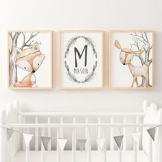 Woodland Nursery Prints | Forest Animal Wall Art | Woodland Nursery Decor | Boys Personalised Name Print | Fox & Deer Nursery Print | Boho by TheKidsPrintStore on Etsy https://www.etsy.com/listing/525012684/woodland-nursery-prints-forest-animal