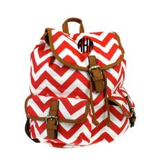 Monogrammed Red/White Chevron Backpack by 323Designs on Etsy, $45.00
