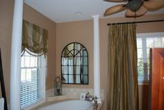 Silk drapes in the bathroom Silk Drapes, Drapery, Curtains, Fabric Swatches, Great Rooms, Master Bedroom, Bathroom, Home Decor, Master Suite
