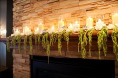 The fireplace in the lobby was a perfect place for a big show of candles, roses, ornaments and my personal favorite, amaranthus!