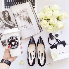 #flatlay #flatlays #fashion #style #shoes #magazine #flowers #coffee