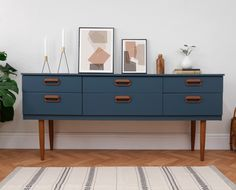 Mid Century Sideboard Chest Of Drawers Media Tv Unit Painted Navy Blue, Teak – Modern Retro Furniture, Refurbished Furniture, Upcycled Furniture, Furniture Makeover, Painted Furniture, Home Furniture, Antique Furniture, Furniture Design, Painted Sideboard