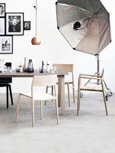 light wood, studio lighting and bunched black frames