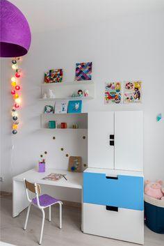 Coin bureau de la chambre bleu indigo réalisée par Delphine Guyart Design