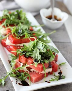 Grilled Watermelon and Feta Stacked Salads - Cooking for Keeps Grilled Watermelon, Watermelon And Feta, Watermelon Recipes, Watermelon Pizza, I Love Food, Good Food, Yummy Food, Tasty, Vegetarian Recipes