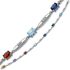 Sterling Silver Mom Bracelet with Birthstones and Names
