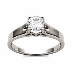 Forever One Round Moissanite Solitaire Engagement Ring, DEW (D-E-F) by Charles & Colvard Womens Jewelry Rings, Gold Jewelry, Diamond Rings, Diamond Engagement Rings, Mens Wedding Rings Platinum, White Gold Rings, Rings For Men, Colored Diamonds, Ring Designs