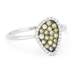 0.37ct Round Cut Fancy-Colored Diamond Right-Hand Pave Ring in 14k White & Black Gold - AlfredAndVincent.com