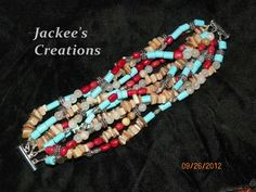Combination of 10 strands of Turquoise(chalked), Coral(dyed), Shell, Onyx, and Metal beads brought together on a Slide Clasp, as well as Wire Guards to keep the wires from wearing, this was made for a smaller wrist, from end to end measures 7'', so someone with a 6 1/2'' should beable to wear more comfortably $50, sold