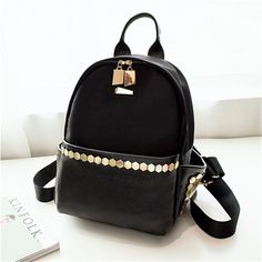 66.66$  Watch here - http://alittd.worldwells.pw/go.php?t=32673764512 - Fashion High Quality Bling Rivet Backpack Women Backpack Leather Backpack Printing Backpack