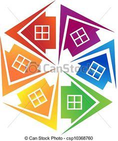 Vector - Real estate houses logo - stock illustration, royalty free illustrations, stock clip art icon, stock clipart icons, logo, line art, EPS picture, pictures, graphic, graphics, drawing, drawings, vector image, artwork, EPS vector art