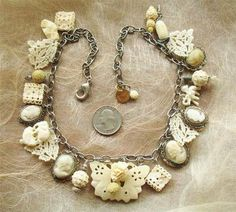 Butterfly Garden Necklace of Carved Bone, Antique Cameos and Lace - on eBay