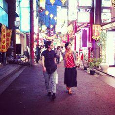 Night-slipping. Chinatown in Yokohama, Japan.