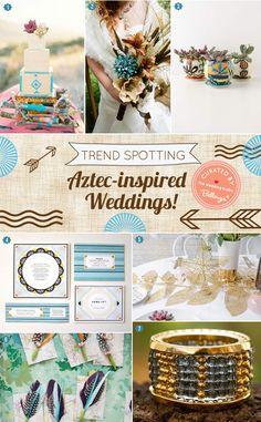 Hop on the trend! Aztec-inspired wedding inspiration and ideas for a chic summer wedding! #aztecweddings  #tribalweddings