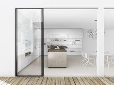 Kitchen:Great White Accent Kitchen Interior Sink Dark Brown Modern 500$ Countertop Cabinet Chair Pendant Light Table Sliding Glass Door Mode...