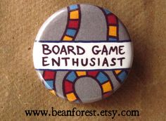 board game enthusiast  pinback button badge by beanforest on Etsy, $1.50