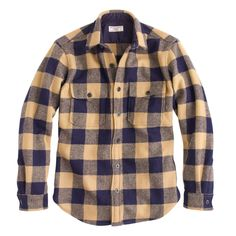 Wallace & Barnes men's buffalo check CPO shirt-jacket at J.Crew.