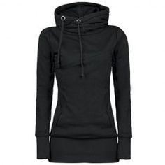 Long Sleeves Hooded Draw String Pockets Beam Waist Korean Style Casual Women's HoodieSweatshirts & Hoodies | RoseGal.com