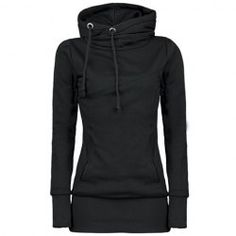 $40.04 Draw String Pockets Beam Waist Korea Style Cotton Solid Color Hoodie For Women