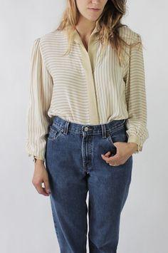 Vintage 80s Ivory Striped Silk Long Sleeve Blouse / VAUXSHOP.COM