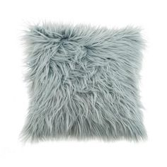 Dunelm Plain Seafoam Blue Faux Fur Cushion (43cm x 43cm)
