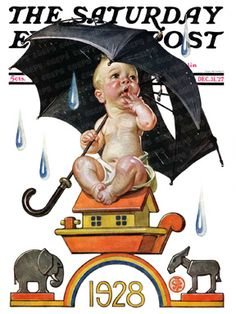 Raining On Baby New Year, 1928 by J. C. Leyendecker, Dec. 31, 1927, The Saturday Evening Post.