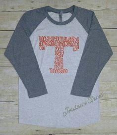 University of Tennessee Rocky Top Power T Vintage Raglan  https://www.etsy.com/listing/461390428/university-of-tennessee-rocky-top-power