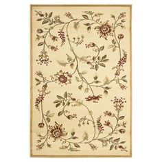 """Loomed rug in ivory with a classic floral motif.  Product: RugConstruction Material: PolypropyleneColor: Ivory and multiFeatures:  Power-loomed0.25"""" Pile height  Note: Please be aware that actual colors may vary from those shown on your screen. Accent rugs may also not show the entire pattern that the corresponding area rugs have."""
