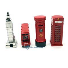 London Telephone Letter Box Bus Big Ben Die Cast Metal Model Pencil Sharpener