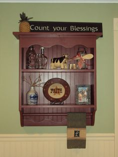 This beautiful wall shelf is available painted or stained and is perfect for any room in the house from the kitchen, living room, bathroom to