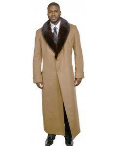 Men's Cashmere Coat with Full Skin Mink Fur Collar