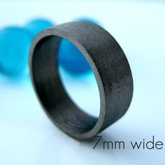 7mm Wedding Band  Black Gold Plated  Over 925 by 360JewelsElite