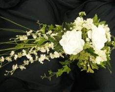 White Gardenia Cascade Bridal Bouquet. Orchid Rose Gardenia. Real Touch Calla Lilies. Pearl and Rhinestone Brooch