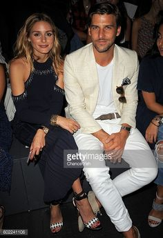 Olivia Palermo and Johannes Hubel is seen at the Jonathan Simkhai show during September 2016 MADE Fashion Week at The Arc Skylight at Moynihan...