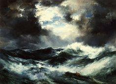 Seascape Painting - Moonlit Shipwreck At Sea by Thomas Moran