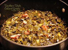 Southern Style Collard Greens - Southern Style Collard Greens Recipe- made this today, turn out very good, used a hambone I g - Vegetable Dishes, Vegetable Recipes, Southern Style Collard Greens, Cooking Recipes, Healthy Recipes, Healthy Meals, Easy Recipes, Healthy Food, Skillet Recipes