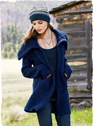 The season's coziest layer–frothy and light in a textural bouclé of alpaca (89%) and nylon (11%). The Sapphire knit jacket is styled with a sumptuous ribbed collar, pockets and sporty zip closure. http://www.peruvianconnection.com