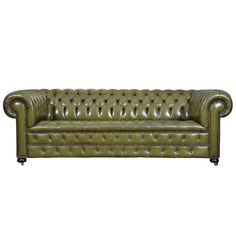 Vintage English Olive Green Leather Chesterfield Sofa | From a unique collection of antique and modern sofas at https://www.1stdibs.com/furniture/seating/sofas/