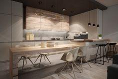 Idée décoration cuisine ouverte bois
