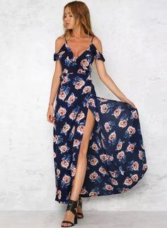 Fashion V Neck Floral Print Maxi Dress - OASAP.com